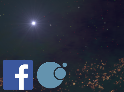 Space and sun background with Facebook and Zherosha Logos